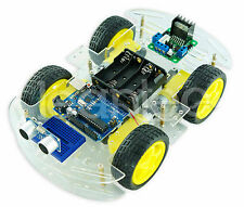 Kit Chasis robot 4 ruedas + Arduino UNO + ultrasonidos (HC-SR04) + Driver L298N