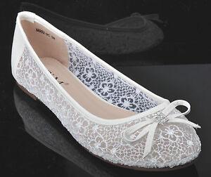 cdec16ec79f Off white Lace Diamante Wedding Ballerina Bridal Flat Pumps UK 3 4 5 ...