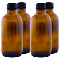 4 Fl Oz Amber Glass Bottle W/ Cone-sealing Cap - Multi-packs With Free Shipping