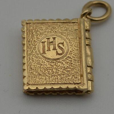 14K Yellow Gold The Ten Commandments Book Pendant