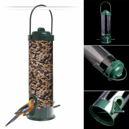 Green Hanging Wild Bird Feeder Seed Container Hanger