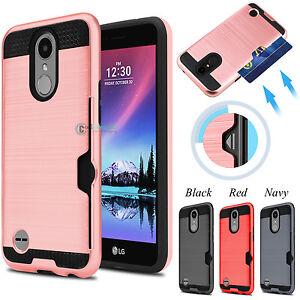 sale retailer b20bc cdbe8 Details about Hybrid Rubber Shockproof Card Holder Hard Phone Case Cover  for LG K20 Plus K20 V