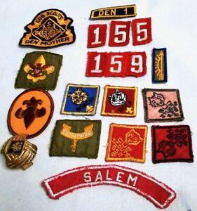 Vintage-Cub-Boy-Scouts-Lot-Salem-Mass-Clasp-Patch-Den-Mother-Be-Prepared