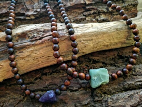 NATURAL GEMSTONE NECKLACE AMETHYST GREEN AVENTURINE SANDALWOOD HEALING BOHO YOGA