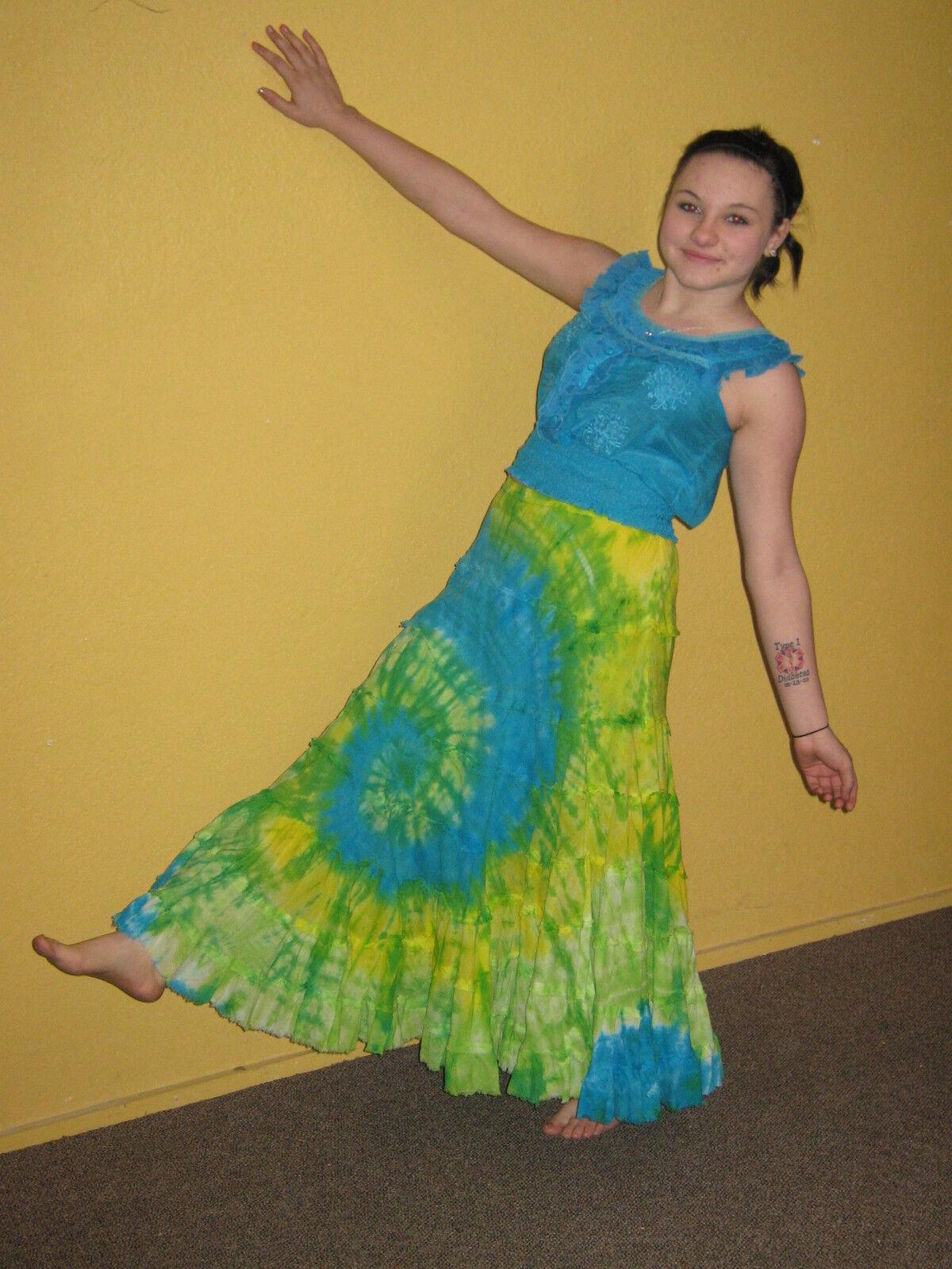 SOLITAIRE Skirt Boho Peasant Gypsy Tie Dye Cotton Gauze Uno Core Top Sz M  CL11