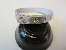 Fossil Iconic Gray Snake Leather Bracelet with Silver Tone Adjustable Clasp