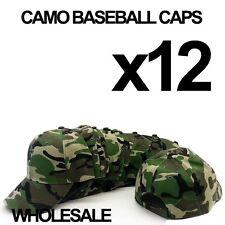 **CAMO CAMOUFLAGE** WHOLESALE LOT OF 12 PLAIN BLANK MILITARY BASEBALL CAPS HATS