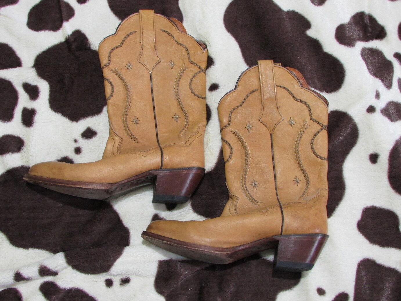 Dan Post Josie Tan Western Cowboy Boots 8 M Leather Stitched