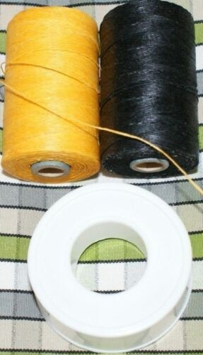 PTFE Tape and Yellow Black Waxed Unwaxed Bagpipe hemp