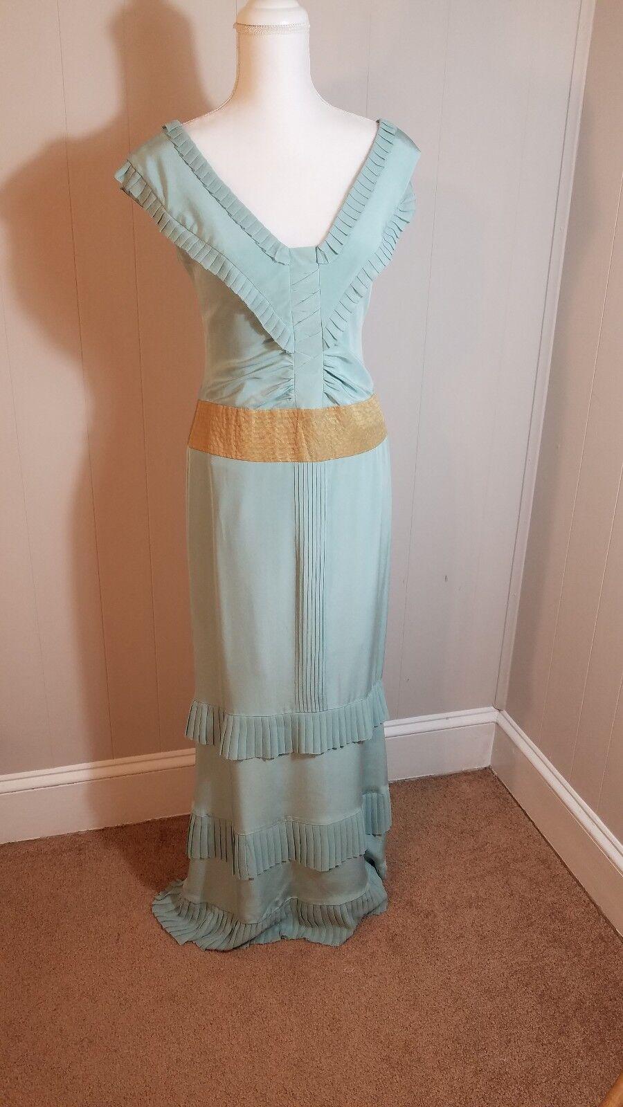 Nicole Miller Miller Miller Womens Silk Gown Sz 6 Sea Foam Green  365 Retail edf7ae