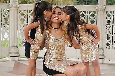 Mother Day Mommys BFF Black L//s Shirt Gold Sequin Skirt Set Girl Clothing 1-8y