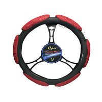 6 Grip Mesh Red & Black Steering Wheel Cover Soft Universal 14.5-15.5''