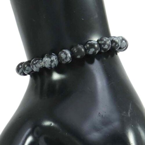 Snowflakes Obsidian Beads Stretchable Fashion Jewelry Fashionable Wrist Bracelet
