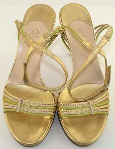 Cole-Haan-Gold-Leather-Open-Toe-Ankle-Strap-Strappy-Heels-Sandals-Womens-7-NEW