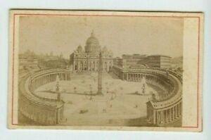 Vintage-CDV-Piazza-di-San-Pietro-St-Peter-039-s-Square-Vatican-Rome