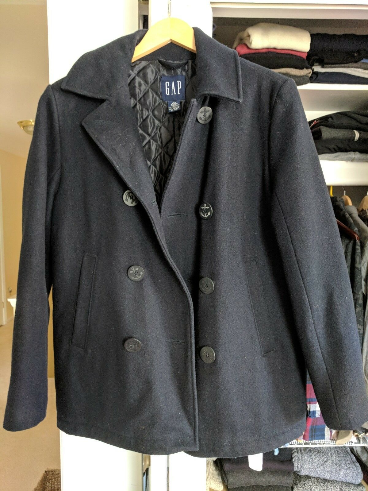 Gap Navy Navy Navy Peacoat Men XS Wool 6b2654