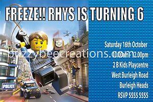 Image Is Loading LEGO City Police Personalised Birthday Invitations DIY Printing