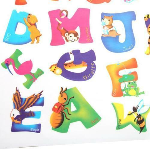 NEW A-Z Animal Alphabet Letters Removable Wall Sticker Kids Early Learning