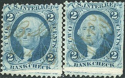 "#r5 Var ""2¢ Bank Check W/ Wide Pre-print Paper Fold Error Bp0046 Good Heat Preservation Stamps"