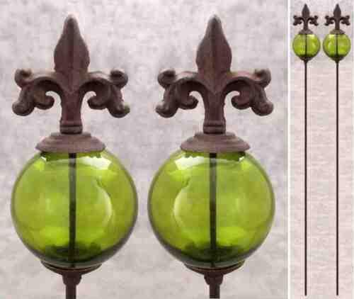 2 FLEUR-DE-LIS /& GREEN GLASS GLOBE Cast Iron GARDEN STAKES Yard Art Garden Decor