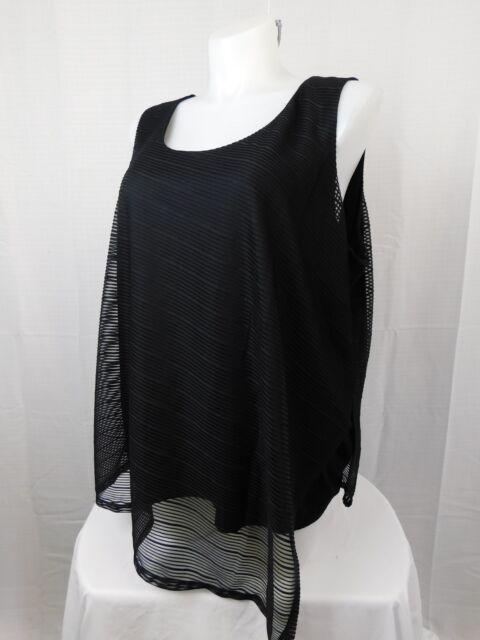 6865901071e1e8 Calvin Klein Womens Black Asymmetrical Striped Tank Top Blouse Plus 1x BHFO  5703