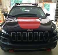 Jeep Cherokee 2014 Front Hood Decal Inlay Cover Trailhawk Wrap Gloss Red Vinyl