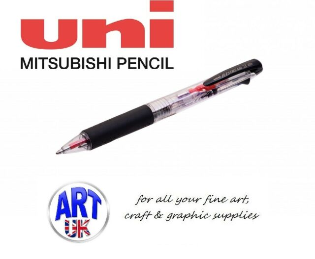Uni Ballpoint Pen Jetstream 3 Color Black Red Blue Ink 0.7mm Black