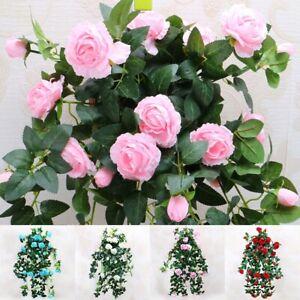 Appendere-Parete-Artificiale-Finta-Seta-Peonia-Garland-FLOWER-Rattan-Cesto-vegetale-LOTTO