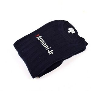 AJ-Armani-junior-made-in-italy-100-en-laine-bleue-Pull-en-maille-Pull-12-ans-150-cm