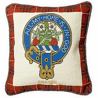 Fraser Tartan Cushion Cover Needlepoint Tapestry Scotland Clan Handmade