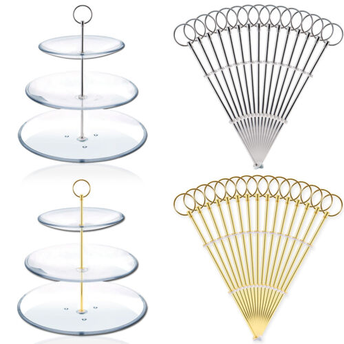 15 x Metal gold//Silver Round Plate Cake Stand Centre Handle Sets /& Fittings
