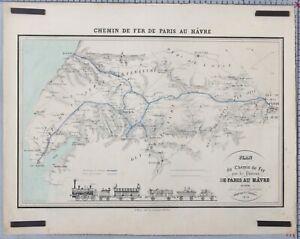 RARE-ANCIEN-PLAN-1838-CHEMIN-DE-FER-DE-PARIS-AU-HAVRE-VINTAGE-RAILWAY-POSTER