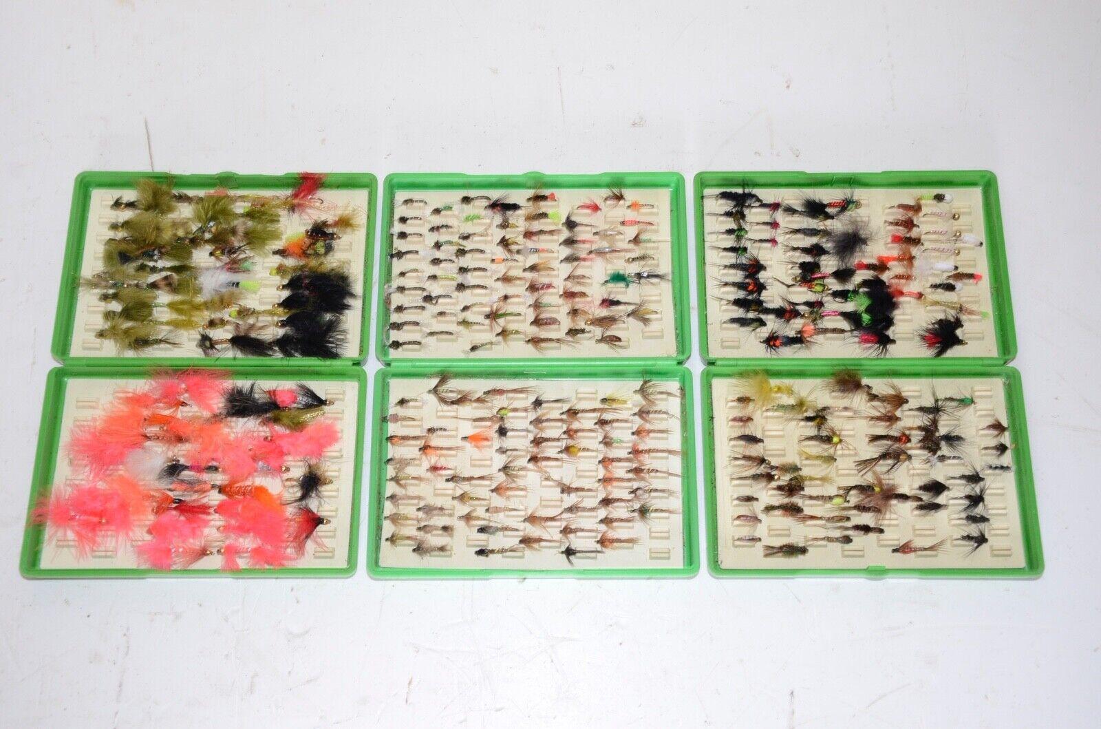 Colección moscas ninfas señuelos de pesca con mosca. 3 cajas de Fox. Trucha Buzzers
