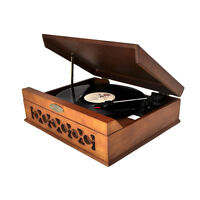Pyle Retro Vintage Classic Style Turntable Vinyl Record Player W/ Usb Recording