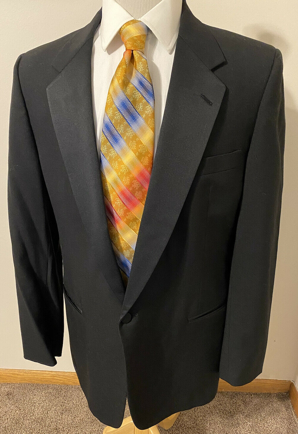 Christian Dior Men's Black 100% Wool Sport Coat Tuxedo Blazer Tux Jacket Sz 42L