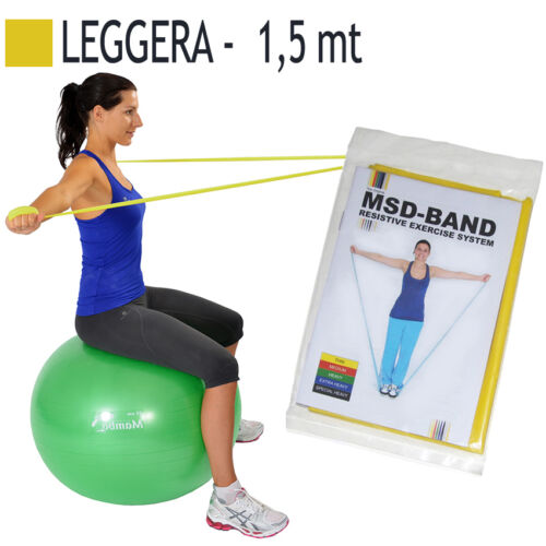 Msd FASCIA ELASTICA GIALLA 1,5 mt LEGGERA Riabilitazione Tono Muscolare Banda