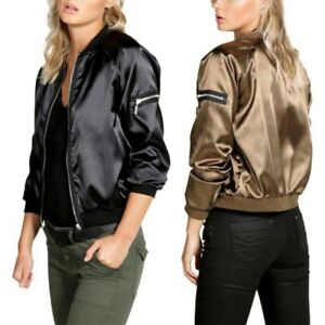 a3b41d84e Details about Womens Solid Satin Bomber Jacket Long Sleeve Zipper Baseball  Coat Outerwear US
