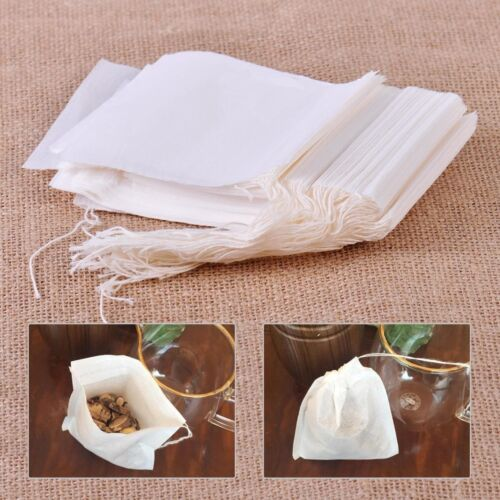 100x Filter Paper Drawstring Bags for Herbs Tea Cooking Soup Spice
