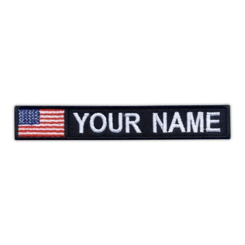 Name Patch with flag of USA Embroidered PATCH//BADGE