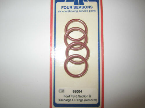A//C AC FORD FS6 SUCTION /& DISCHARGE O-RINGS 98004 NEW RED OVAL