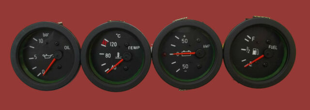 "52 mm Electrical Gauges Set ( 4 pc) - Oil Pressure Temperature ""C  Ampere Fuel"