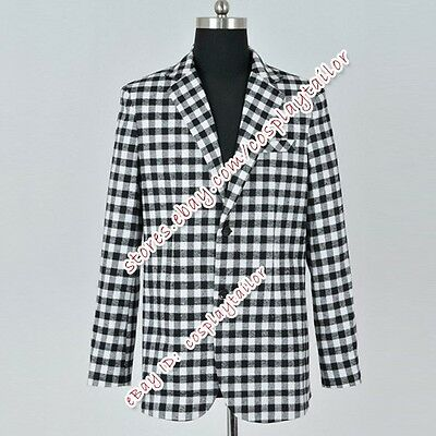 Fallout:New Vegas Game Benny Cosplay Costume Plaid Cost Suit Cos Jacket Clothing