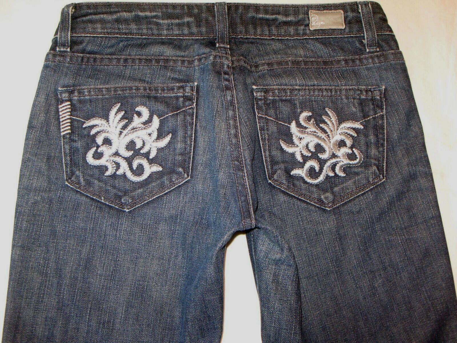 Paige Laurel Canyon Low Bootcut Jeans Sz 26 Dark Distressed w Stretch L 28