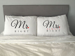MR&MRS RIGHT  Pillow Case Funny Valentine's Day Gift Anniversary