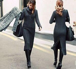 Caricamento dell immagine in corso abito-lungo-misto-lana-donna-caldo-grigio -elegante- 63c530abf5d