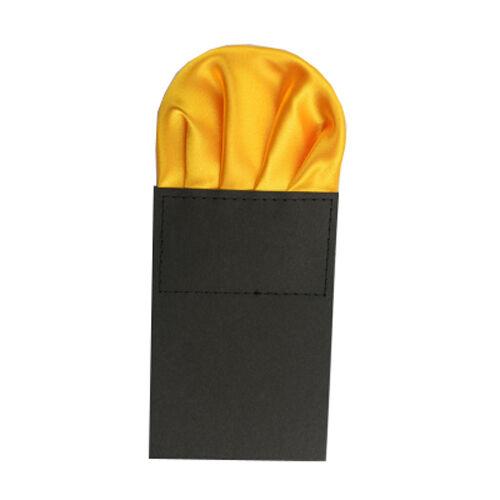 Men Solid Color Satin Pre Folded Hanky Pocket Square Wedding Party Handkerchief