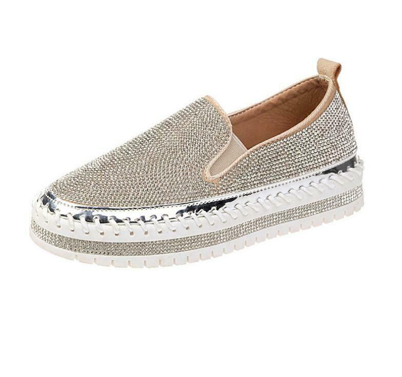 Womens Slip On Loafers Round Toe Shiny Leather shoes Rhinestones Creeper Heels