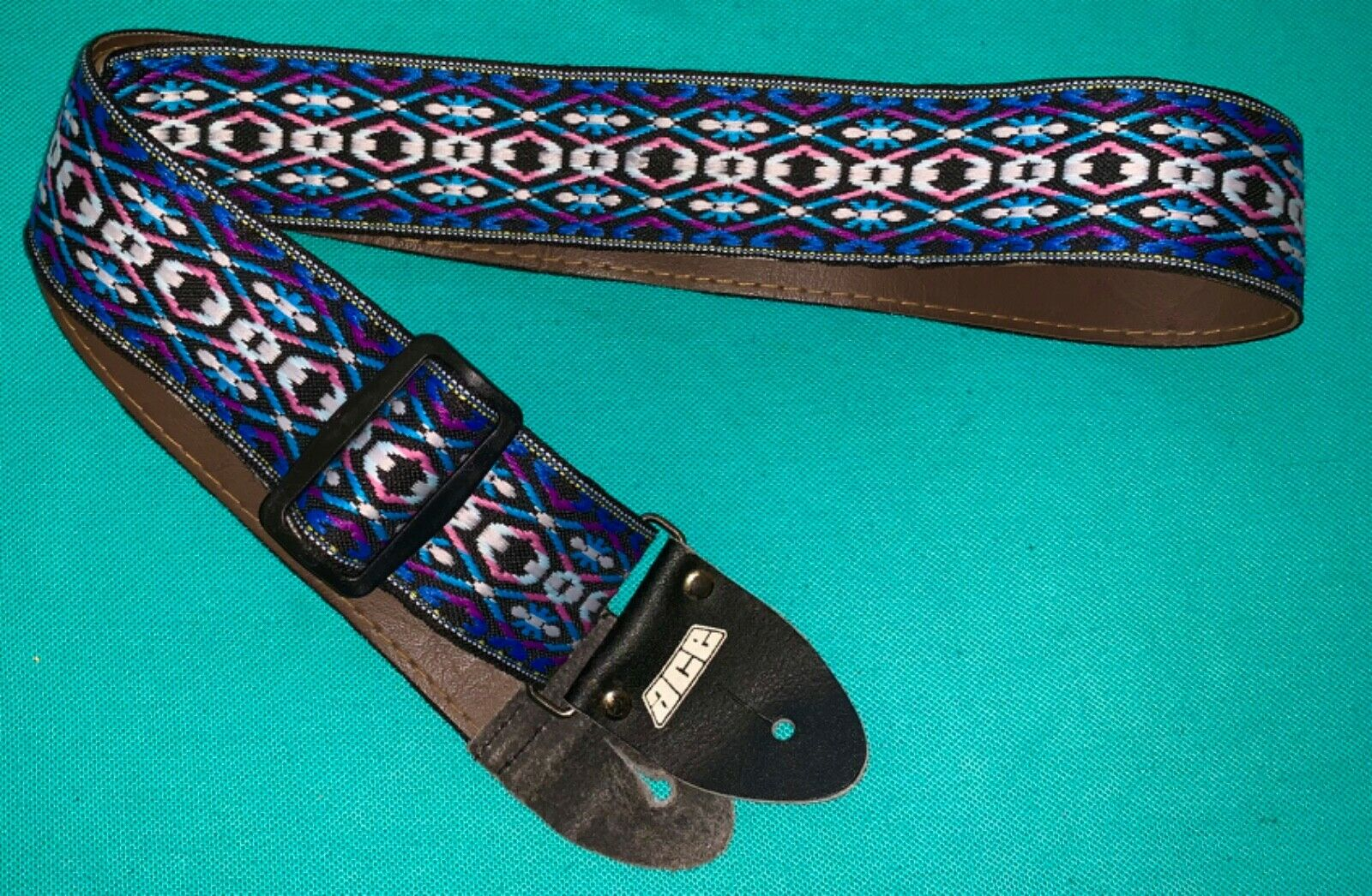 Vtg ACE Passage to Paradise Hippie Woven Guitar Strap