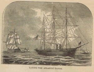 Details about Ships Laying the Transatlantic Telegraph Cable -1869  Historical Page