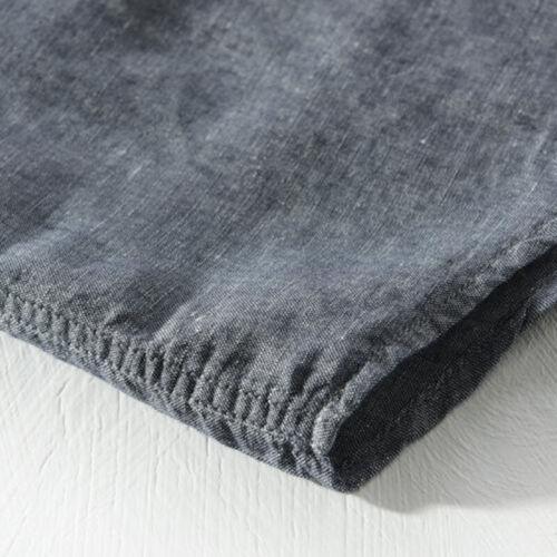 Fashion Men/'s Cotton Linen Long Sleeve Button-Front Shirt Lapel Tops Size M-2XL